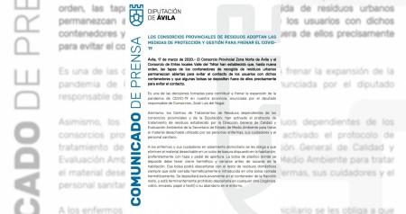 COMUNICADO CONSORCIO PROVINCIAL DE RESIDUOS