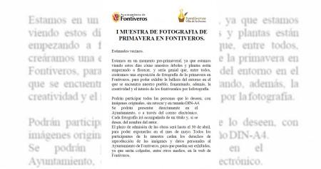 I MUESTRA DE FOTOGRAFIA DE PRIMAVERA DE FONTIVEROS