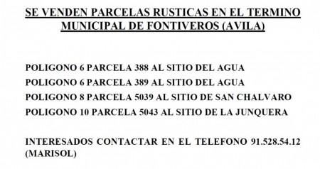 VENTA DE PARCELAS RUSTICAS EN FONTIVEROS