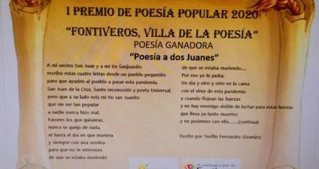 """DIPLOMA GANADOR PREMIO POPULAR DE POESIA """"FONTIVEROS, VILLA DE LA POESÍA"""""""