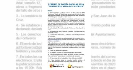 """I PREMIO DE POESIA POPULAR """"FONTIVEROS, VILLA DE LA POESÍA"""""""